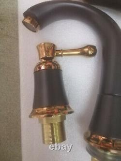 Brass Rose Gold +Black Sink 3 Hole Two Handles Widespread Faucet Mixer Tap