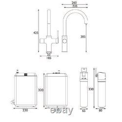 Bristan Kitchen Mixer Tap 4 in 1 Rapid Boiling Water Tank+Filter Modern Chrome