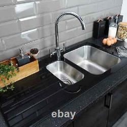 Bristan Kitchen Sink 1.5 Bowl Glacier Black Glass Surround + Left Hand Drainer