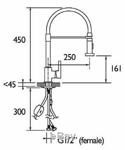 Bristan LQR PROSNK C Liquorice Professional Kitchen Sink Mixer Tap with Pull Out