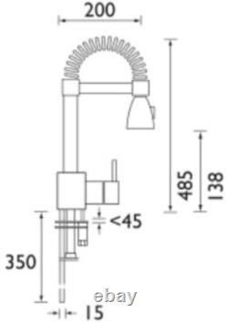 Bristan Target Monobloc Kitchen Mixer Tap Single Lever Modern Pull Out Chrome