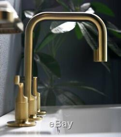 Brushed Gold Brass NEW Unique Bathroom Sink Faucet Hot&Cold Mixer Tap 2 handles