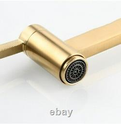 Brushed Gold Pot Filler Tap Wall Mounted Foldable Kitchen Faucet Single Cold Tap