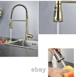 Brushed Gold Spring Kitchen Faucet Pull out Sprayer Pull down Brass Mixer Tap