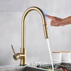 Brushed Gold Touchless Kitchen Faucets Pull Down Sprayer Stainless Steel Faucets