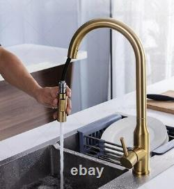 Brushed Gold Two Functions Sprayer Kitchen Sink Brass Faucet Pull Out Mixer Tap