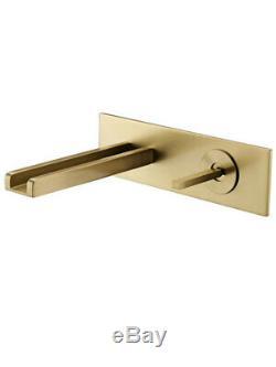 Brushed Gold Wall Mount Basin Sink Waterfall Faucet Bathroom/Bathtub Mixer Tap