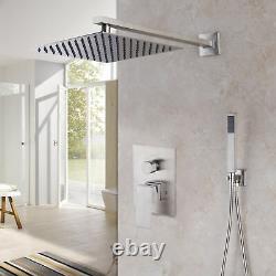 Brushed Nickel 10 Rainfall Shower Head 2-Way Mixer Valve Hand Shower Faucet Set