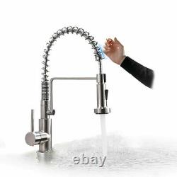 Brushed Nickel Induction Kitchen Sink Faucet Touch sensor 2-Mode Sprayer Faucet