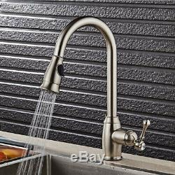 Brushed Nickel Kitchen Sink Faucet Pull Out Sprayer Single Hole Swivel Mixer Tap