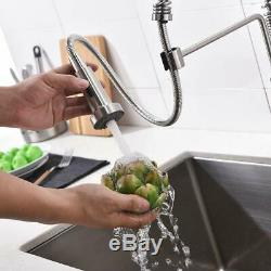 Brushed Nickel Sensor Touch Kitchen Sink Faucet Pull Out Sprayer Mixer Tap