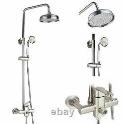 Brushed Nickel Shower Faucet Handheld Sprayer Mixer Tap Wall Mount 1 Handle Set