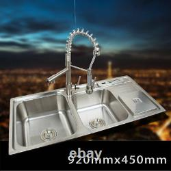 Brushed Nickel Stainless Steel Kitchen Sink Vessel Set Washing Vanity 2 Sinks