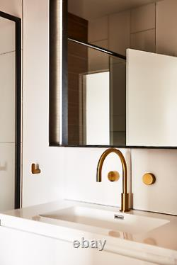 Brushed gold brass counter basin sink halo round taps bathroom kitchen laundry