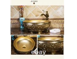 Carved Gold Ceramic Bathroom Basin Vessel Sink Mixer Faucet Tap Pop-up Drain Set