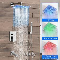 Chrome 16 LED Rainfall Shower Faucet Set Hand Sprayer Tub System Mixer Tap