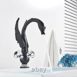 Chrome Basin Sink Faucet Swan Crystal Art Hot Cold Mixer Crane Kitchen Tap Deck