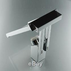 Chrome Bathroom Sink Basin Mixer Faucet Finished LED Waterfall Deck Mounted Tap