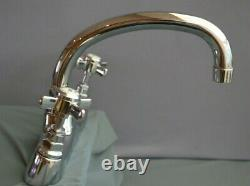 Chrome Deck Mounted Kitchen Mixer Taps, Reclaimed And Fully Refurbed Retro Taps