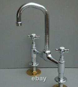 Chrome Deck Mounted Mixer Taps Ideal Belfast Sink Reclaimed & Refurbished Taps
