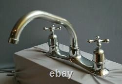 Chrome Deck Mounted Mixer Taps, Reclaimed And Fully Refurbished Retro Taps