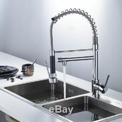 Chrome Kitchen Faucet Swivel Spout Single Handle Sink Pull Down Spray Mixer Tap