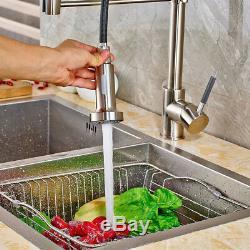 Chrome Kitchen Sink Faucet Swivel Spout Single Hole Mixer Tap Pull Down Sprayer