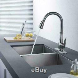 Commercial Kitchen Sink Faucet Single Handle Pull Down Sprayer Mixer Tap + Cover