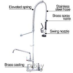 Commercial Pre-Rinse Sink Faucet Kitchen 12 Add-On Mixer Tap Pull Down FHM
