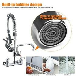 Commercial Sink Faucet Kitchen Center Wall Mount Pull Down Sprayer Heavy Duty