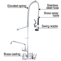 Commercial Wall Mount Pre-rinse Faucet Kitchen Sink Pull Down Mixer Tap Faucet