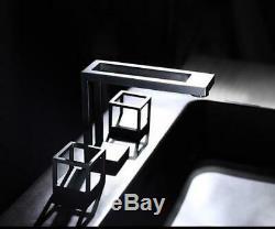 Creative Bath Sink Faucet Brass WideSpread Hot&Cold Mixer Taps 2 Handles Black