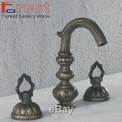 Deck Mounted Two Lever Brass Bathroom Antique Sink Basin Faucet Mixer Faucet tap