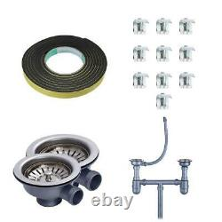 Double 1.5 BOWL STAINLESS STEEL KITCHEN SINK & DRAINER PLUMBING & WASTE KIT NEW