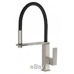 ENKI KT033 Square Designer Brushed & Black Pull Out Kitchen Sink Mixer Tap Brass
