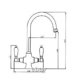 ENKI KT061 Dual Flow Kitchen Sink Mixer Tap Twin Lever Gold DORCHESTER
