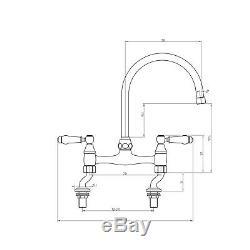 ENKI KT064 Traditional White Lever Bridge Kitchen Sink Mixer Tap Bronze BROMPTON