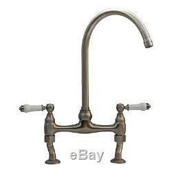 ENKI KT065 Bridge Kitchen Sink Mixer Tap Brushed Nickel Traditional BROMPTON