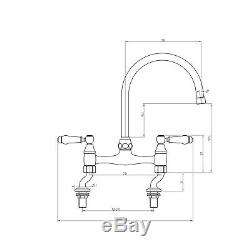 ENKI KT066 Traditional Lever Bridge Kitchen Sink Mixer Tap English Gold BROMPTON