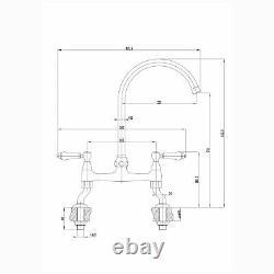 ENKI KT104 Traditional Bridge Kitchen Mixer Tap White Lever Deck Antique Bronze