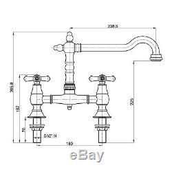 ENKI Traditional Colonial Bridge Kitchen Sink Mixer Tap Cross Swivel LANGLEY
