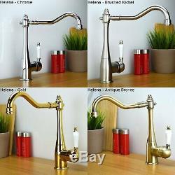 ENKI Traditional Victorian Kitchen Sink Mixer Monobloc Tap Brass Bronze Bridge