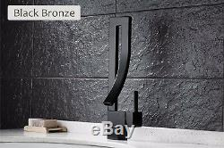 Elegant Deck Mount Bathroom Basin Faucet Waterfall Sink Mixer Tap Hot Cold Mixer