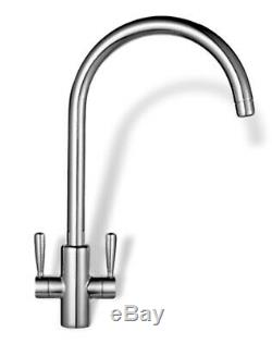 Franke Ascona Twin Lever Sink Mounted Mono Mixer Kitchen Tap Chrome Effect -new