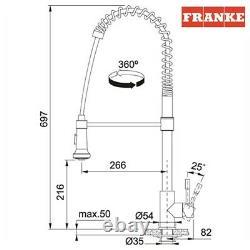 Franke SWISS PRO/HERMES Pull-Out Spray Stainless Steel Chromed Kitchen Tap