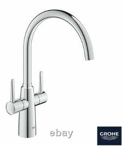 GROHE Ambi Monobloc Two Handle Kitchen Sink Mixer Tap Silver