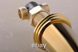 Gold 3 Holes Double Handle Tap Bathroom Brass Antique Basin Sink Mixer Faucet