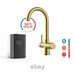 Gold 3 Way Instant Hot / Boiling Water Kitchen Tap & Digital Heating Unit