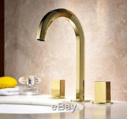 Gold Brass Unique Bathroom Kitchen Sink Faucets Hot&Cold Mixer Tap 2 Handles New