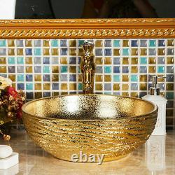 Gold Ceramic Bathroom Basin Vessel Sink Combo Mixer Faucet Tap Pop-up Drain Set